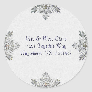 Silver Snowflake Envelope Seal Round Stickers