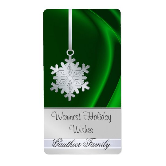 Silver Snowflake Green Silk Holiday Wine Label Shipping Label