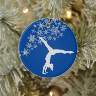 A Boy Playing Trampoline Pewter Snowflake Christmas Ornaments,Christmas Tree Decorations Ornaments,Keepsake,Novelty