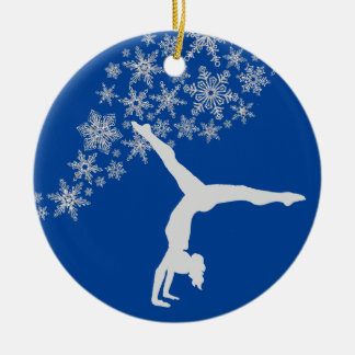 Silver Snowflake Gymnast Personalized Christmas Ornament