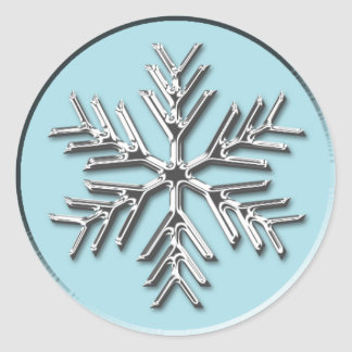Silver Snowflake Holiday Envelope Seal Sticker