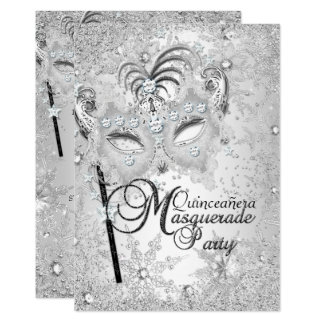 Silver Snowflake Mask Masquerade Quinceanera Card