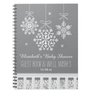 Silver Snowflake Mobile Baby Shower Guest Book