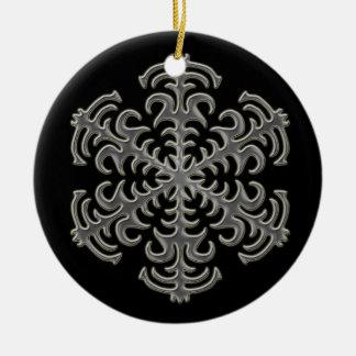 Silver Snowflake on Black Ceramic Ornament