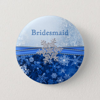 Silver snowflake on blue Bridesmaid 6 Cm Round Badge