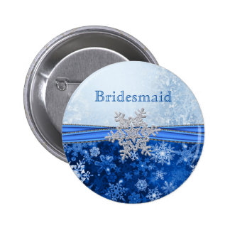 Silver snowflake on blue Bridesmaid 6 Cm Round Badge