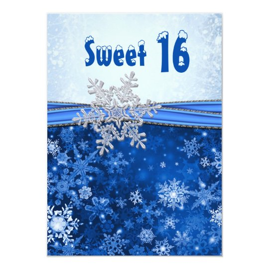 Silver snowflake on blue Sweet 16 Party Card