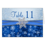 Silver snowflake on blue Table number Greeting Card