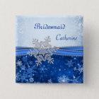 Silver snowflake on blue Wedding Bridesmaid 15 Cm Square Badge