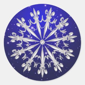 Silver snowflake on night sky  Sticker