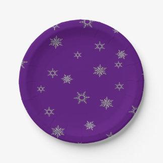 Silver Snowflake Paper Plate