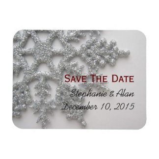 Silver Snowflake Save The Date Magnet