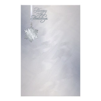 Silver Snowflake Silver Foil Holiday Stationery