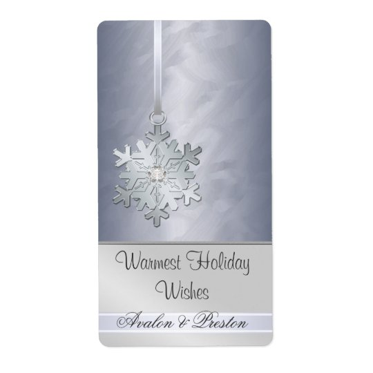 Silver Snowflake Silver Jewel Holiday Wine Shipping Label