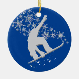 Silver Snowflake Snowboarder Personalized Christmas Ornament