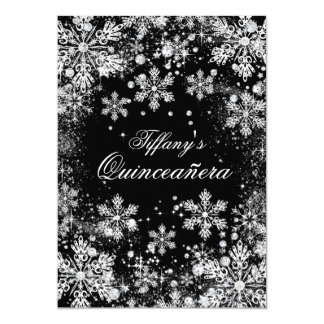 Silver Snowflake Winter Wonderland Quinceanera Card