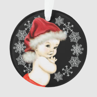 Silver Snowflakes Baby Boy First Christmas Ornament