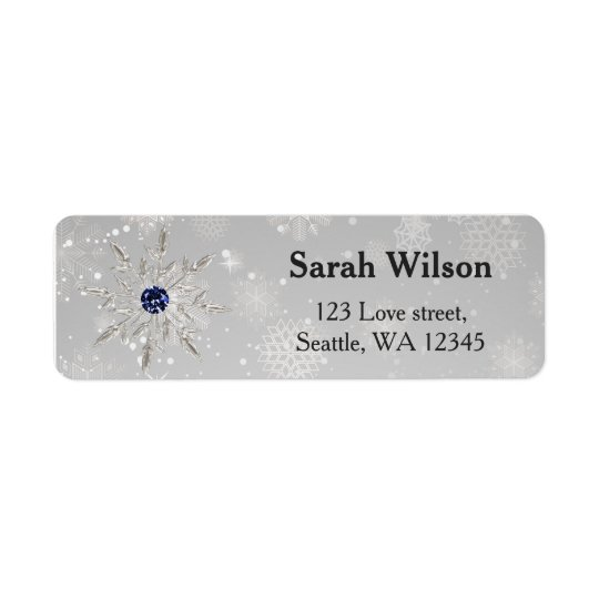 silver snowflakes bridal shower address label