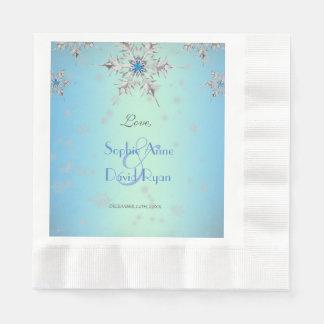 Silver Snowflakes Crystals Blue Pearls Wedding Disposable Napkins