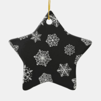 Silver snowflakes on a black background christmas ornament