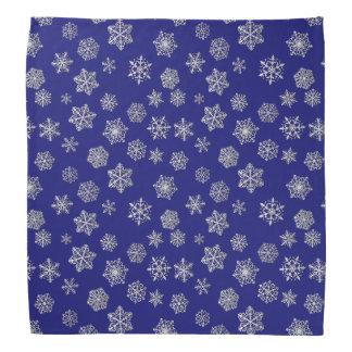 Silver snowflakes on a dark blue background kerchiefs