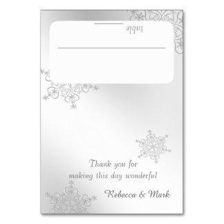Silver Snowflakes Seating Card