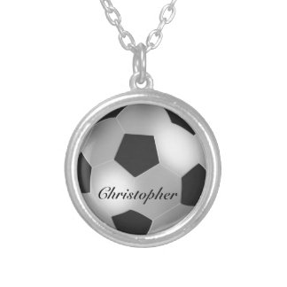 Silver Soccer ball customizable name Silver Plated Necklace