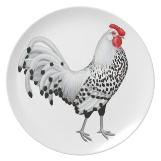 Silver Spangled Hamburg Rooster Plate