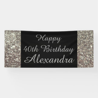 Silver Sparkle 40th Birthday Party Banner