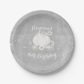 Silver Sparkle Carriage Elegant Cinderella Party 7 Inch Paper Plate