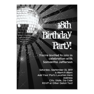Silver Sparkle Disco Ball 18th Birthday Party Card