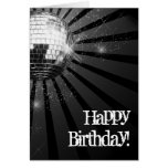 Silver Sparkle Disco Ball Happy Birthday Greeting Note Card