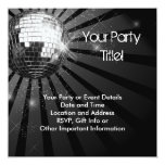 Silver Sparkle Disco Ball Party Personalised Invitation