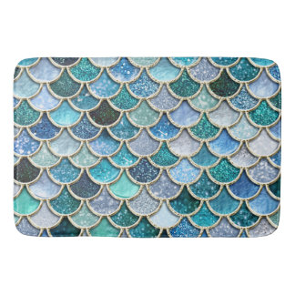 Silver Sparkle Glitter Mermaid Scales Bath Mat