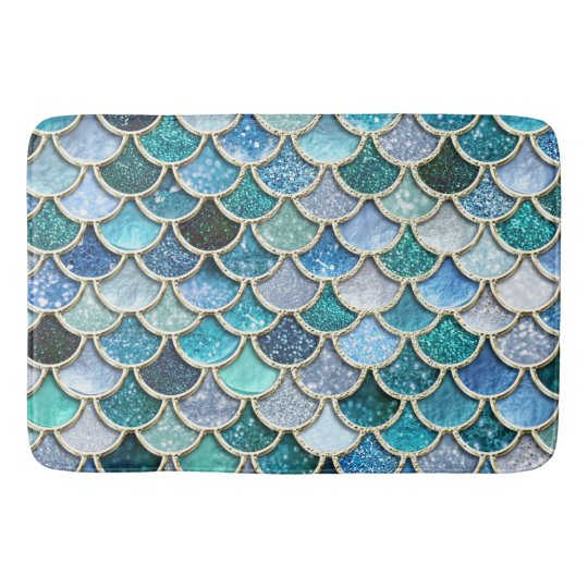 Silver Sparkle Glitter Mermaid Scales Bath Mat Zazzle Co Uk