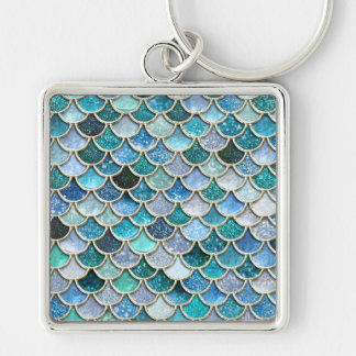 Silver Sparkle Glitter Mermaid Scales Key Ring