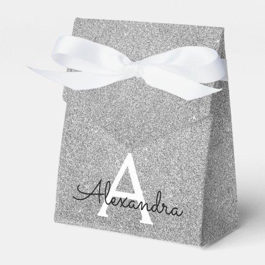 Silver Sparkle Glitter Monogram Name & Initial Favour Box