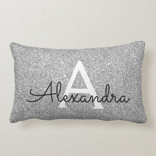 Silver Sparkle Glitter Monogram Name & Initial Lumbar Cushion