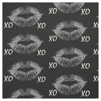 Silver Sparkle Lips XOXO Fabric