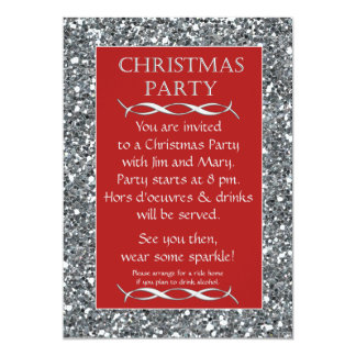 """Silver Sparkle Look Red Christmas Party Invitation 5"""" X 7"""" Invitation Card"""