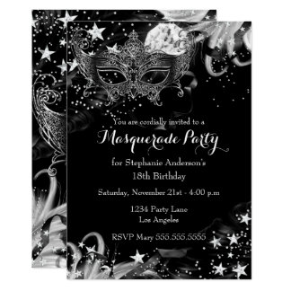 Silver Sparkle Magical Night Masquerade Invitation
