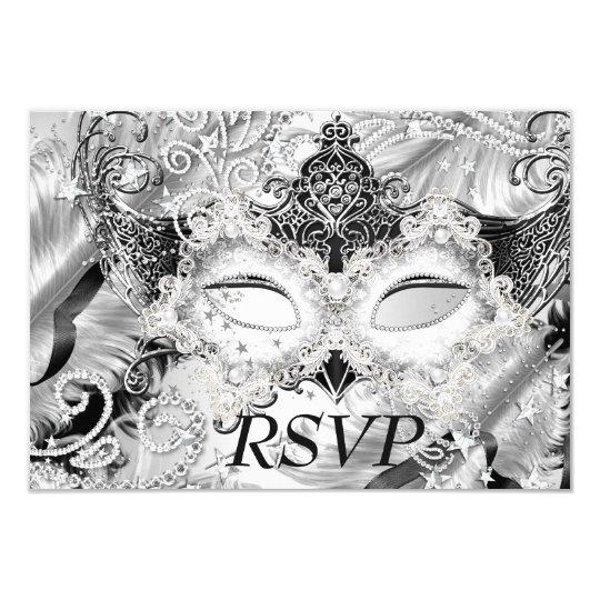Silver Sparkle Mask Masquerade Party RSVP Card