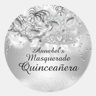 Silver Sparkle Masquerade Quinceanera Sticker