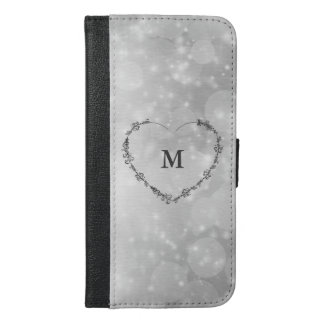 Silver sparkle monogram iPhone 6/6s plus wallet case