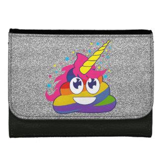 Silver Sparkle Rainbow Unicorn Poop Emoji Wallet