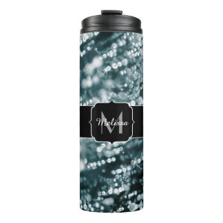 Silver sparkles Frozen ice bubbles Monogram Thermal Tumbler