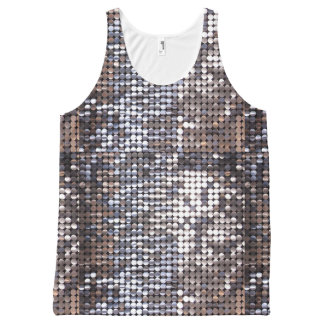 Silver Sparkling Sequin Look All-Over Print Tank Top