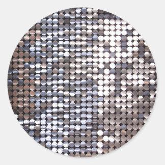 Silver Sparkling Sequin Look Classic Round Sticker