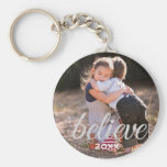 Silver Sparkly Believe Script Christmas Photo Basic Round Button Key Ring