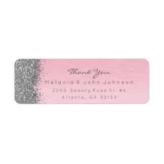 Silver Sparkly Glitter Pink Rose Pastel Return Address Label